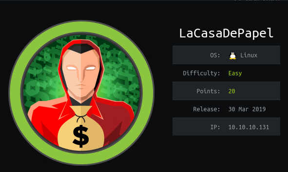 HackTheBox LaCasaDePapel (10.10.10.131) Writeup
