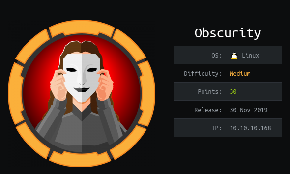 HackTheBox Obscurity (10.10.10.168) Writeup